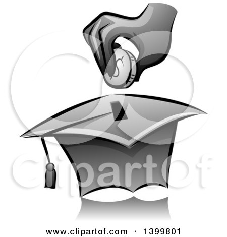 Clipart of a Grayscale Hand Putting a Coin in a Graduation Cap Box - Royalty Free Vector Illustration by BNP Design Studio