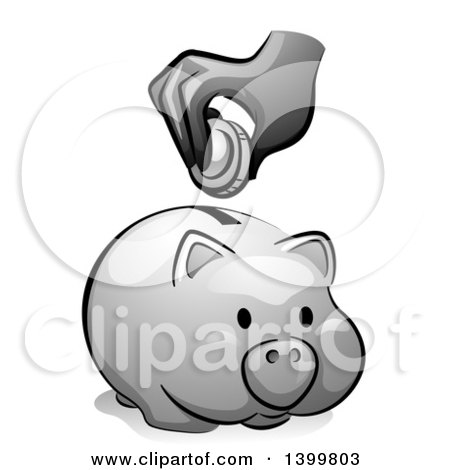 Clipart of a Grayscale Hand Putting a Coin in a Piggy Bank - Royalty Free Vector Illustration by BNP Design Studio