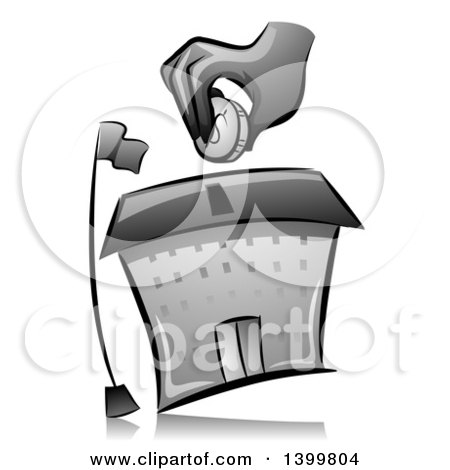 Clipart of a Grayscale Hand Putting a Coin in a School Building Donation Box - Royalty Free Vector Illustration by BNP Design Studio