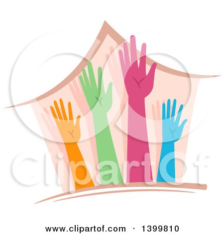 Clipart of a House with Colorful Hands - Royalty Free Vector Illustration by BNP Design Studio
