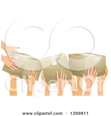 Clipart of a Group of Volunteer Hands Passing Donation Boxes - Royalty Free Vector Illustration by BNP Design Studio