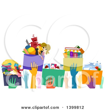 Clipart of a Line of Hands Passing Donation Boxes - Royalty Free Vector Illustration by BNP Design Studio