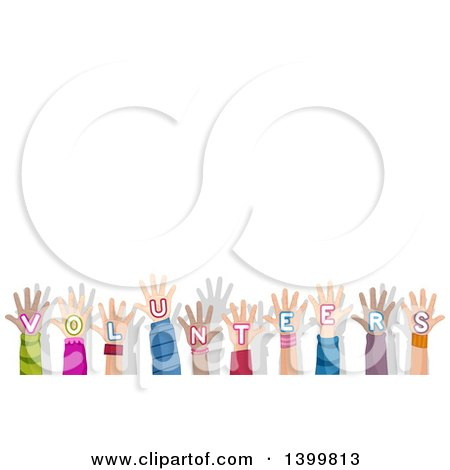 Clipart of a Row of Hands with Volunteers Text with Copyspace - Royalty Free Vector Illustration by BNP Design Studio