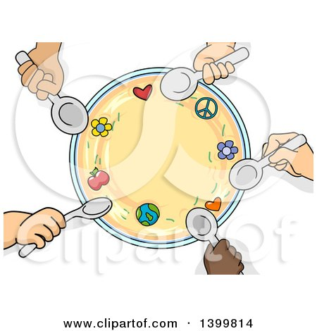 Clipart of a Circle of Child Hands Holding Spoons Around a Bowl - Royalty Free Vector Illustration by BNP Design Studio