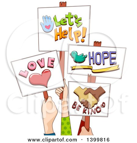 Clipart of Hands Holding up Positive Signs - Royalty Free Vector Illustration by BNP Design Studio
