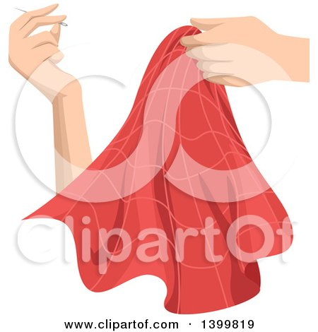 Clipart of a Woman's Hands Sewing a Piece of Fabric - Royalty Free Vector Illustration by BNP Design Studio