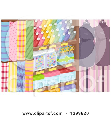 Clipart of a Textile Shop with Fabric, Accessories and Mannequins - Royalty Free Vector Illustration by BNP Design Studio
