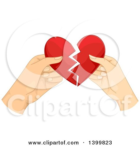 Clipart of Hands of a Couple Tearing Apart a Heart - Royalty Free Vector Illustration by BNP Design Studio