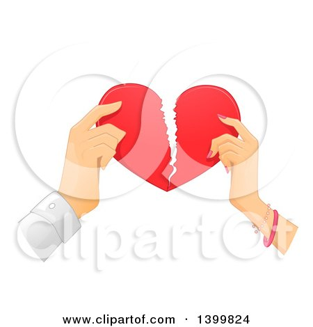 Clipart of Hands of a Couple Breaking a Heart - Royalty Free Vector Illustration by BNP Design Studio