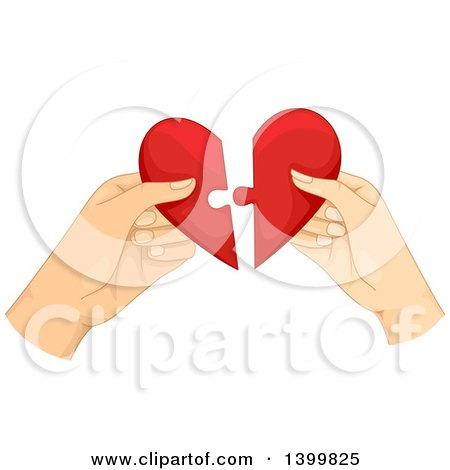 Clipart of Hands of a Couple Fitting Together Puzzle Pieces of a Heart - Royalty Free Vector Illustration by BNP Design Studio
