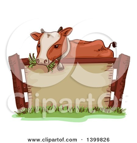 Clipart of a Sketched Cow Wearing a Bell and Chewing Grass over a Blank Sign - Royalty Free Vector Illustration by BNP Design Studio