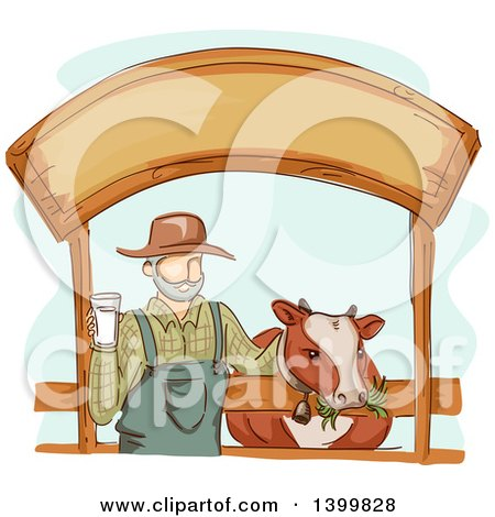 Clipart of a Sketched Dairy Farmer Holding a Glass of Milk and Standing with a Cow Under a Sign - Royalty Free Vector Illustration by BNP Design Studio
