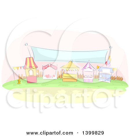 Clipart of a Row of Sketched Carnival Booths Under a Banner - Royalty Free Vector Illustration by BNP Design Studio