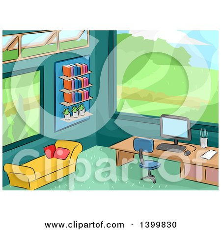 Clipart of a Sketched Office Interior with a Scenic View - Royalty Free Vector Illustration by BNP Design Studio