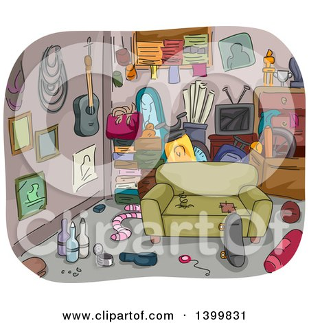 Clipart of a Sketched Messy and Cluttered Room - Royalty Free Vector Illustration by BNP Design Studio