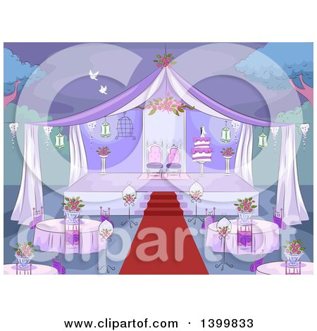 Clipart of a Sketched Purple Wedding Reception Party Set up - Royalty Free Vector Illustration by BNP Design Studio