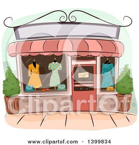 Clipart of a Sketched Fashion Boutique - Royalty Free Vector Illustration by BNP Design Studio