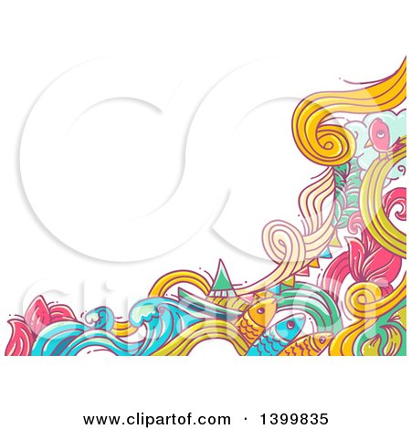 Clipart of a Doodled Border of Waves and Fish - Royalty Free Vector Illustration by BNP Design Studio