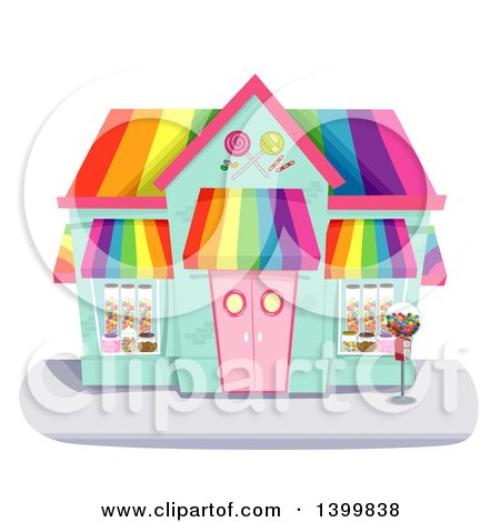 Clipart of a Colorful Candy Shop Building - Royalty Free Vector Illustration by BNP Design Studio