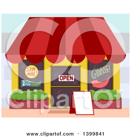 Clipart of a Store Building with Advertisements - Royalty Free Vector Illustration by BNP Design Studio