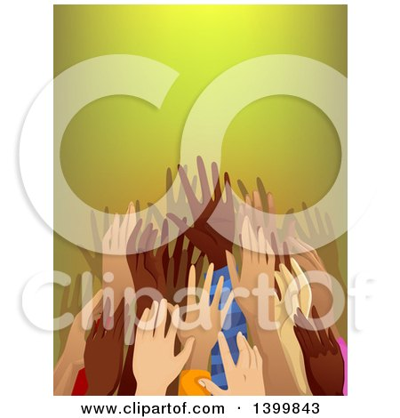 Clipart of a Crowd of Hands Reaching - Royalty Free Vector Illustration by BNP Design Studio