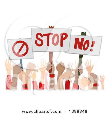 Clipart of Hands Holding up Disapproving Signs - Royalty Free Vector Illustration by BNP Design Studio