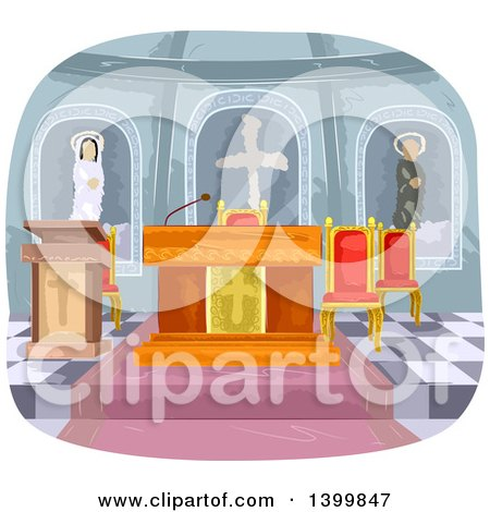 Clipart of a Church Interior - Royalty Free Vector Illustration by BNP Design Studio