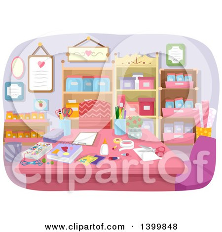 Clipart of a Table in a Craft Room - Royalty Free Vector Illustration by BNP Design Studio