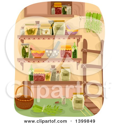 Clipart of a Pantry with a Ladder, Canned Foods and Herbs - Royalty Free Vector Illustration by BNP Design Studio
