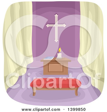 Clipart of a Prayer Room - Royalty Free Vector Illustration by BNP Design Studio