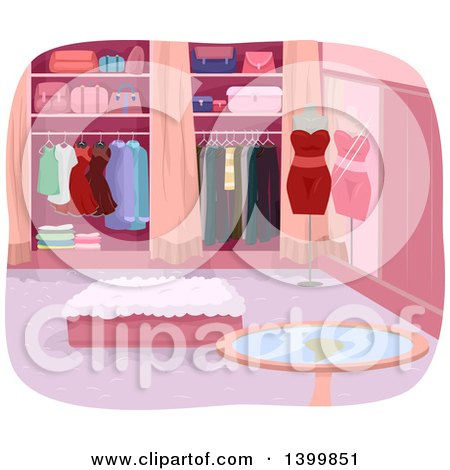 Clipart of a Luxury Closet Interior - Royalty Free Vector Illustration by BNP Design Studio