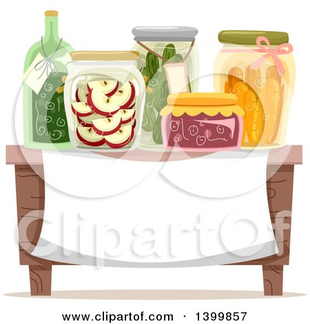 Clipart of a Table with Canned Goods over a Sign - Royalty Free Vector Illustration by BNP Design Studio