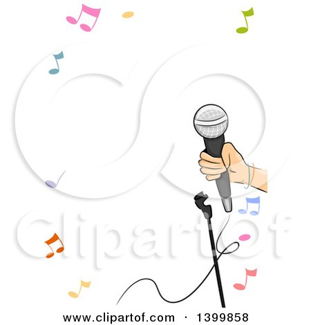 Clipart of a Border of a Hand Holding a Microphone and Music Notes - Royalty Free Vector Illustration by BNP Design Studio