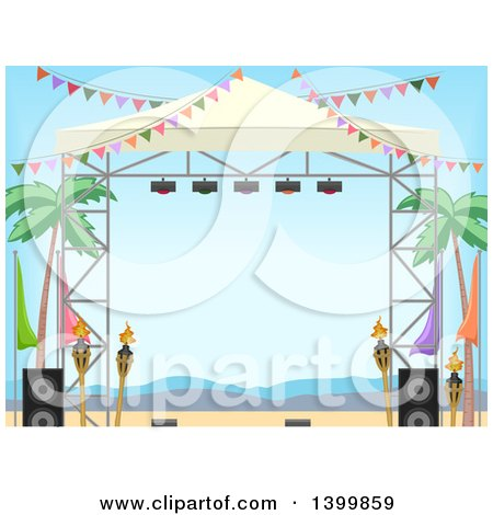 Clipart of a Stage on a Tropical Beach - Royalty Free Vector Illustration by BNP Design Studio