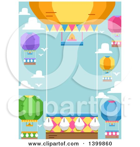 Clipart of a Border of Hot Air Balloons Against Sky - Royalty Free Vector Illustration by BNP Design Studio