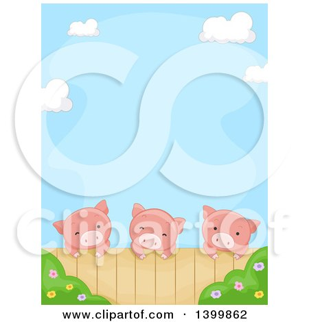 Clipart of a Border of a Cute Pigs Looking over a Fence - Royalty Free Vector Illustration by BNP Design Studio