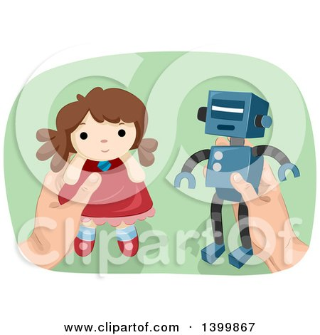Clipart of a Man's Hands Holding a Robot and Doll - Royalty Free Vector Illustration by BNP Design Studio