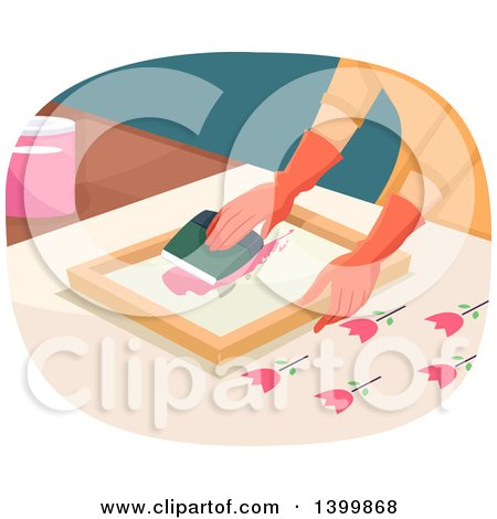Clipart of a Woman Painting Tulip Silk Screen - Royalty Free Vector Illustration by BNP Design Studio