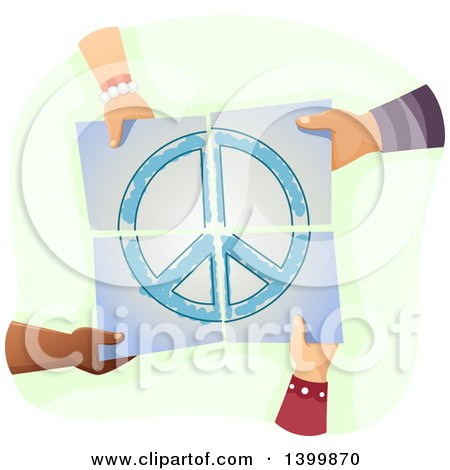 Clipart of a Group of Hands Holding Together Pieces of a Peace Painting - Royalty Free Vector Illustration by BNP Design Studio