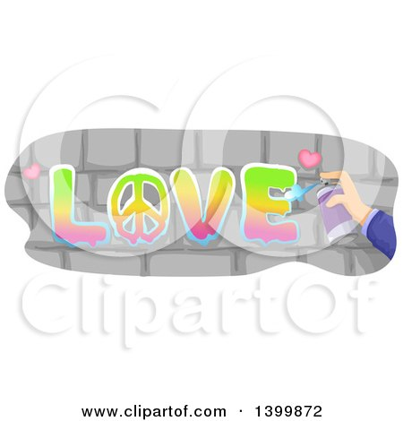 Clipart of a Hand Spray Painting LOVE on Bricks - Royalty Free Vector Illustration by BNP Design Studio