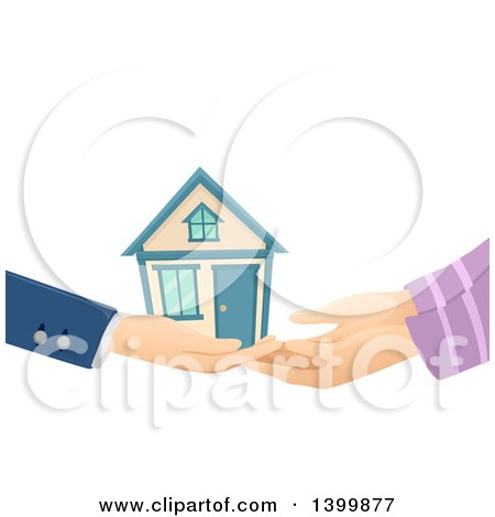 Clipart of a Realtor Handing a House over to a Buyer - Royalty Free Vector Illustration by BNP Design Studio