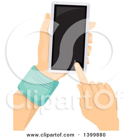 Clipart of a Pair of Hands Using a Touch Screen Smart Phone - Royalty Free Vector Illustration by BNP Design Studio