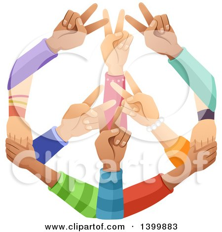 Clipart of a Peace Sign Made of Hands - Royalty Free Vector Illustration by BNP Design Studio
