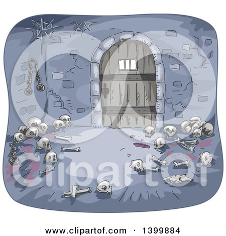 Clipart of a Dungeon Interior with Bones - Royalty Free Vector Illustration by BNP Design Studio
