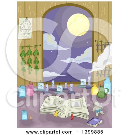 Clipart of a Witch's Counter with a View of a Full Moon - Royalty Free Vector Illustration by BNP Design Studio