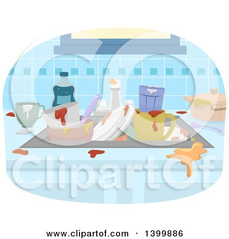 Clipart of Sketched Dirty Dishes - Royalty Free Vector ...