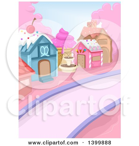 Clipart of a Town Made of Candy and Sweets - Royalty Free Vector Illustration by BNP Design Studio
