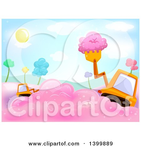 Clipart of a Tractor Payloader Scooping Cotton Candy - Royalty Free Vector Illustration by BNP Design Studio
