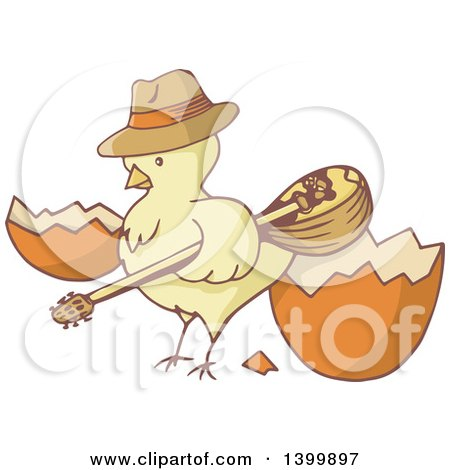 Clipart of a Yellow Chick Holding a Bouzouki by a Cracked Egg - Royalty Free Vector Illustration by Any Vector