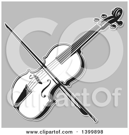 Clipart of a Black and White Lineart Violin and Bow on Gray - Royalty Free Vector Illustration by Any Vector